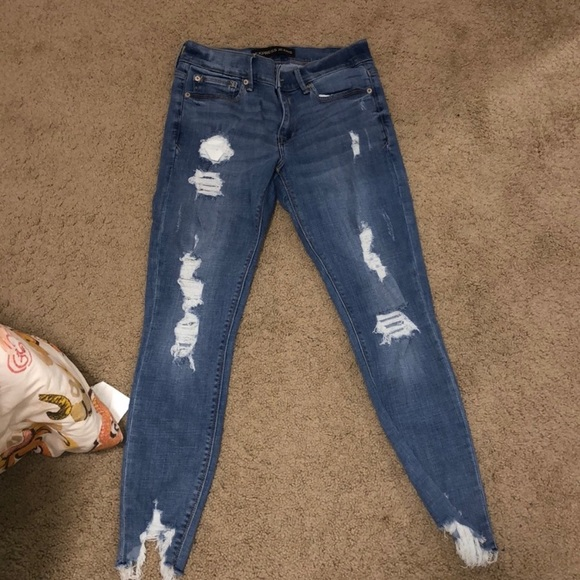 Express performance distressed ankle legging jeans